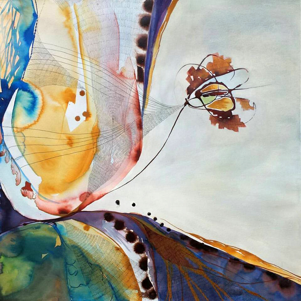 "Flight. Ink, Watercolor & Pastel on Paper. 20"" x 20"". $900."
