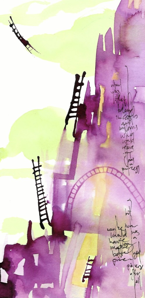 "Ladders. Ink & Watercolor on Paper. 4"" x 8"". Sold."