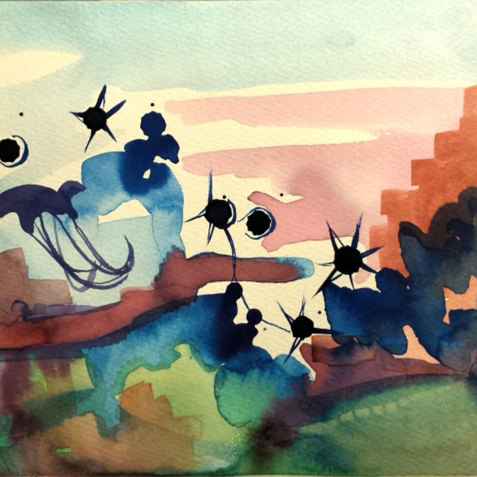 "Underwater Stars. Ink and Watercolor on Paper. 7"" x 7.5"". Sold."