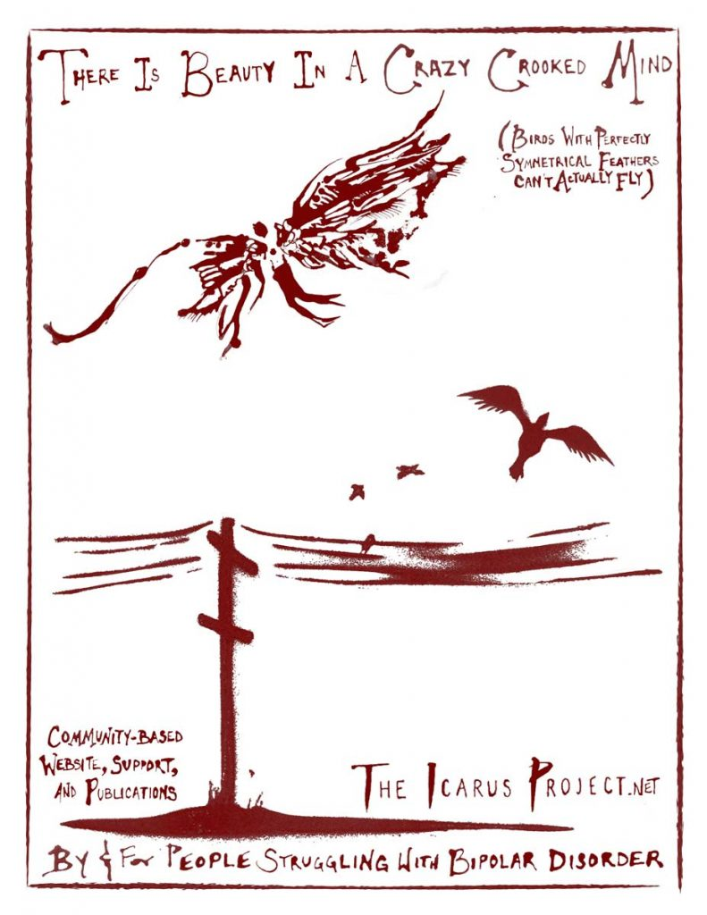 """Asymmetrical Feathers."" Poster design for The Icarus Project. Ink and stencil on paper."