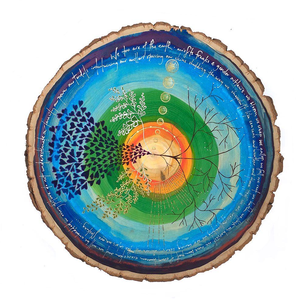 Image of painting on wood round