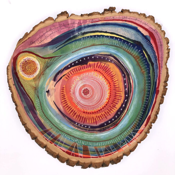 Abstract painting on basswood tree slice